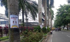 Stiker Kampanye Akhyar-Salman menempel di pohon di salah satu kawasan jalan di Kota Medan SUMBER: SINDOnews/Sartana